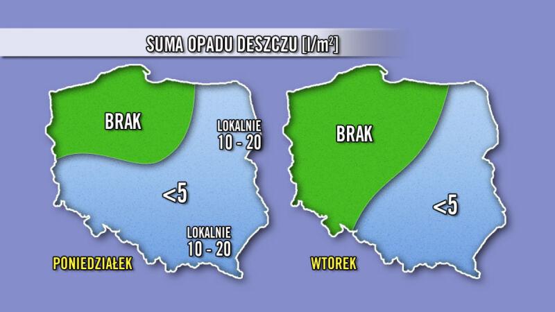 Prognozowane opady deszczu / TVN Meteo