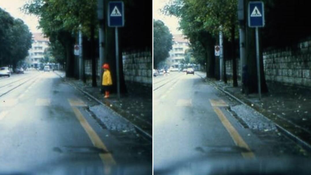 Na tych zdjęciach jest dwoje dzieci. Jedno w odblaskowej kurtce, drugie bez