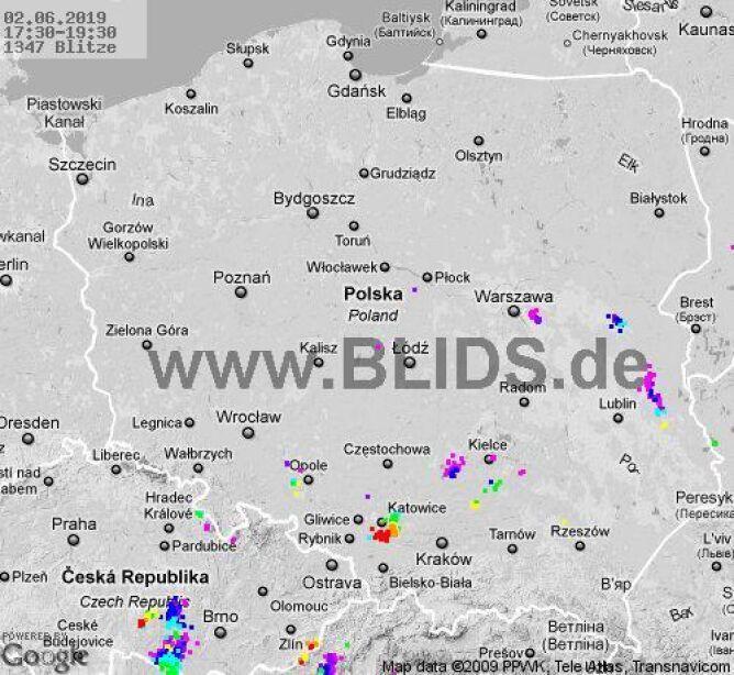 Ścieżka burz w godzinach 17.30-19.30 (blids.de)