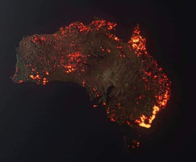 Wizualizacja 3D obszarów zajętych przez ogień w Australii od 5.12 do 5.01 (NASA/Anthony/TwitterThe Big Data Stats)