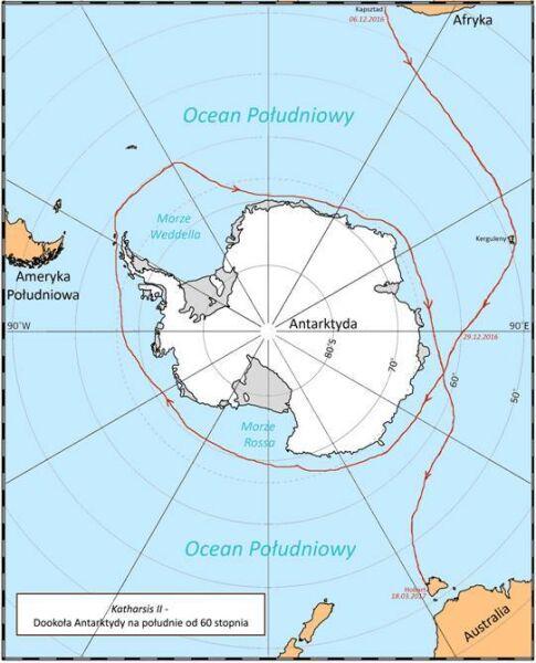 Tak wyglądała zaplanowana trasa (antarcticcircle60s.pl)