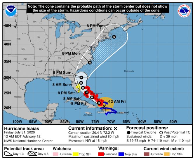 Trasa przebiegu huraganu Isaias (NHC, NOAA)