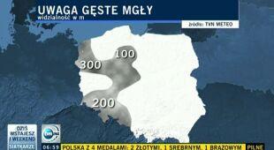 Mgły spowiły polskie drogi (TVN24)